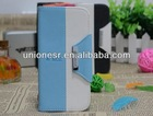 Wholesale double colors design high quality leather case for samsung galaxy s4 i9500