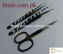 Professional Eyelash Extension Tweezers X Type, Pointed, Straight, Curved. White Zebra