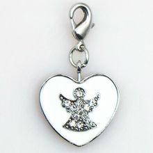 white heart angel wings charm floating crystal locket dangle, enamel heart crystal angel dangle charms lobster clasp