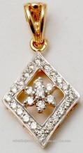 18k amarillo oro y diamante colgante exportador, moderna de la ronda corte diamante joyería, asequible cometa en forma de colgante de oro al por mayor