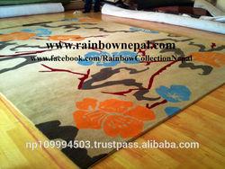 Handmade Himalayan Cream Beige Turquoise Blue Flower Wool Carpet Rug 140x200 cm