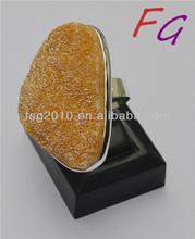 RI-US-0385 buy brass knuckles Orange agate Adjustable ring, Natural Druzy Agate Ring