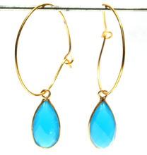 22k Gold Vermeil Apatite Chalcedony Faceted Pear Bezels Hoop Earrings Available in 925 Silver also Bridal Jewelry Bridesmaids