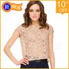 Ladies fashion Short Sleeve lace zipped at back Chiffon Shirt Tops Blouse