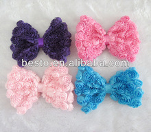 CF 0822 baby girls wholesale hair clip materials chiffon rosette butterfly hair bow