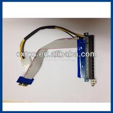 PCI-E Express 16X To 1X Riser Card Cable Flex Extender Molex Power Adapter