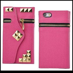 cheap pu zipper bag for apple iphone 5g 5s