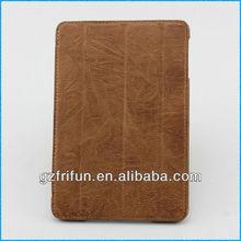 light brown 4 folding smart leather case for ipad mini case