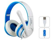 VYKON Superb USB Plug On-ear Headphones with Microphone & 1.8 m Cable (Blue & White)