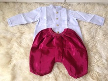 Kid's Thai Costume for boys. Shirt with red Thai silk pants