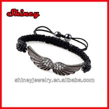 Angel Wings Crystal Connector Bead Macrame Bracelet