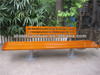 Outdoor wood furniture bench with back and metal bench frame