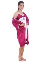 Stiching Colors Cheap Satin Silk Nightgown/ Nightdress/ Night Robe Silk Pajama Set
