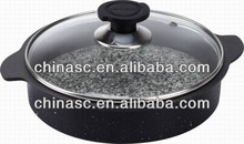Die cast stone griddle pan cooking pot handles
