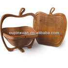 hot selling high quality top solid bamboo constructions apple shape bamboo folding fruit basket