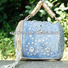 Ladies Women New Designer Denim Fabric Diamond-encrusted Fireworks Big Rhinestones Shoulder/Tote/ Across Body Bag ( BMDS053)