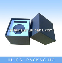Luxury black cardboard natural wax candle packaging box with logo
