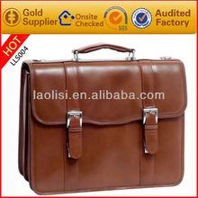 Hot sale brown men leather briefcase shoulder straps conference bag