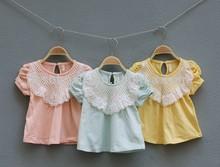 baby girl lace yoke cotton t-shirt, lace yoke t-shirt for girls