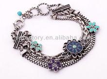 flower enamel/epoxy multi chian vintage anti-silver plated bracelet