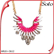 Latest model fashion full blossom flower statement necklace 2014 with peal jewelry