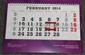 inglês Árabe 2014 calendário
