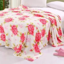 2014 fashion soft baby blanket printing flower polyester rose Coral fleece blanket stock