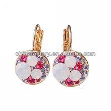 Fashion Metal Pink Crystal earrings hoop change