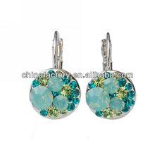 Fashion Metal Blue Crystal earrings hoop change
