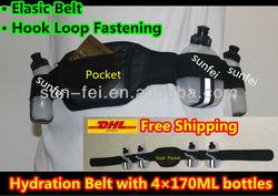 Cycling Jogging Running Marathon Sports Waist Hydration Pack~Hydration Belt with 4*170ml Bottles, Hydro Race Belt Dual Pocket