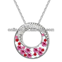 Newest Fashion Jewelry Set Wholesale Crystal Necklace heart and arrow pendant necklace with crystal