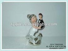 Polyresin wedding ceremony & wedding anniversary gifts, mini fat bride wedding souvenirs