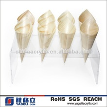 acrylic champagne cone stand to hold the champagne, icecream, flowers etc. (the size and shape is according to your requirement)
