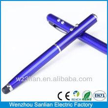 4-in-1 laser multi-functional Aluminum laser pointer led light ball pen pda stylus pen