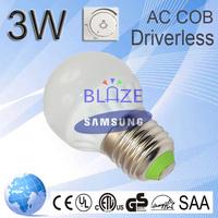 No need driver Dimmable 3w LED AC COB globe bulb ceramic