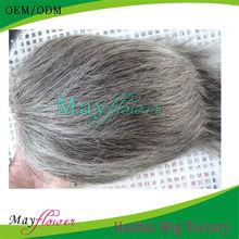 100% virgin indian hair grey hair wigs for womentoupee