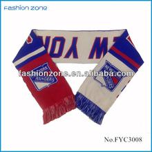 wholesale acrylic New York Rangers knitted custom sport scarf with tassel