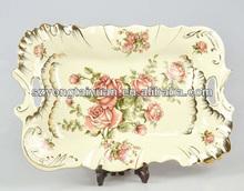half decal flower design fine ivory porcelain tray