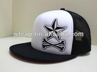 5 stars black snapback cap fat embroidery