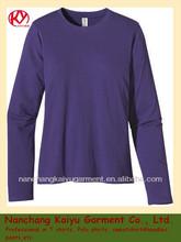 womens 100% cotton long sleeve Tee, O neck T shirt, long sleeve T shirt