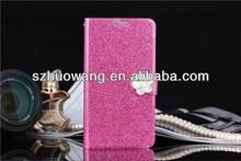 Stylish leather case shining diamond case for iphone 5