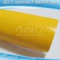 Diseños de pegatinas de fibra de carbono amarillas para bicicletas/película de vinilo adhesivo de fibra de carbono 4D 1,52 x 30 m