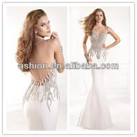 ED-0868 Stunning tarik ediz evening dress sale sexy see through back evening gowns for teenagers