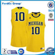 reversible design 2014 cheap basketball jersey uniform yellow color