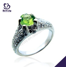 Trendy green zircon online shopping wholesale silver ring 325