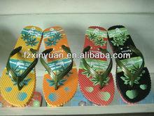 printed design ladies PE beach flip flops slipper, beach slippers