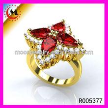 LARGE RED GEM WITH DIAMOND FLOWER RING DESIGN FOR GIRLS, EBAY FASHION WOMEN FLOWER RINGS