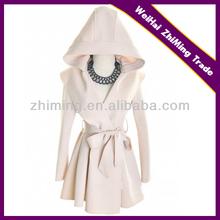 ladies newest fashion coat with hood belt figure flattering dress like designal