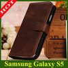 Genuine Leather Wallet Case For Samsung Galaxy S5 I9600 Phone Bag Flip Cover With Stand and Card Holder Classical Color