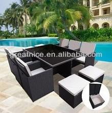 Outdoor Patio Garden Wicker Dinning Table Set Rattan Furniture 11pcs